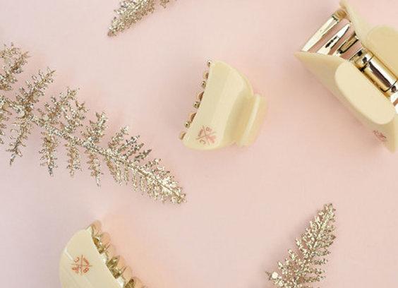 Pince petite vanille et dorée - accessoires cheveux