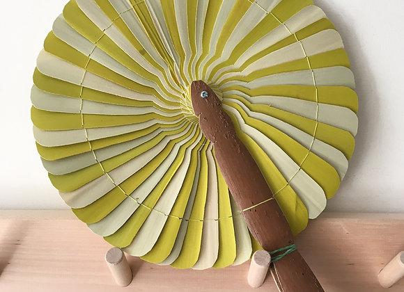 Eventail décoratif tourbillon vert et naturel - Blanc Bohème
