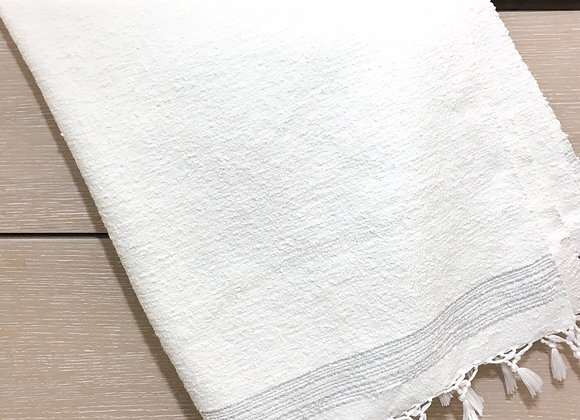 Drap de bain Blanc lignes Argent