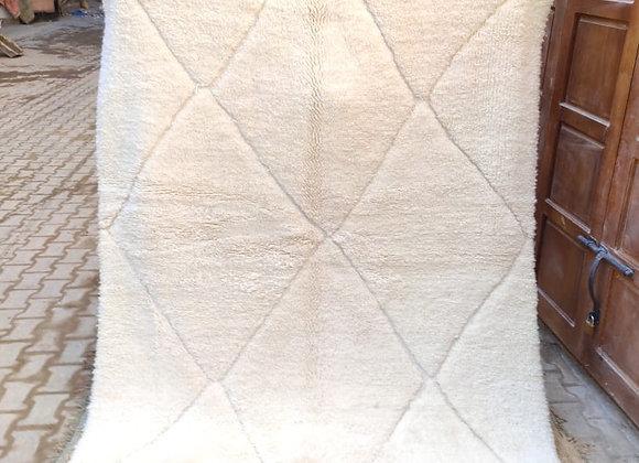 Tapis Béni Ouarain blanc dans la trame - Blanc Bohème