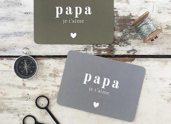 """Carte postale """" papa je t'aime"""" - blanc Bohème"""