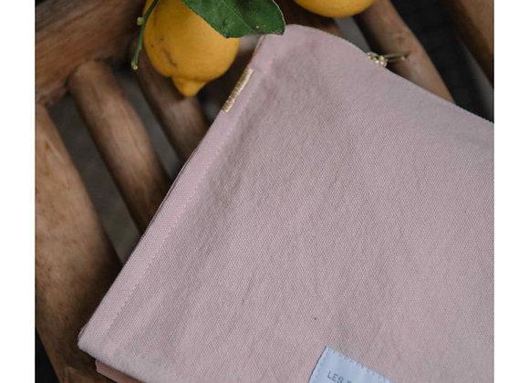 Trousse de toilette en coton vieux rose - Blanc Bohème