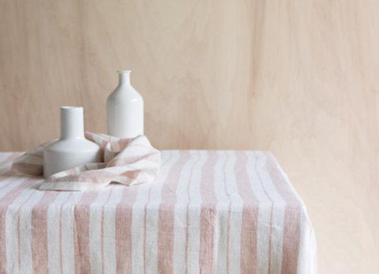 Nappe 170 x 250 cm Larges Rayures Glaise/Milk