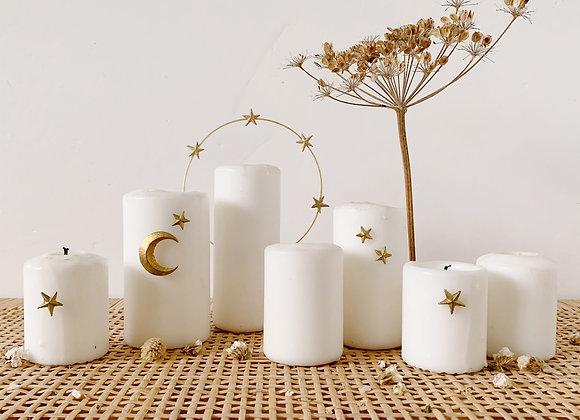 Décoration de bougie Lune et Etoiles - Blanc Bohème