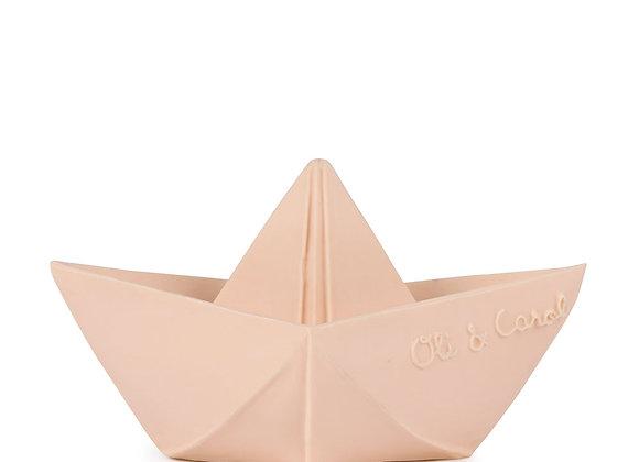 Jouet de bain: bateau rose nude en latex naturel
