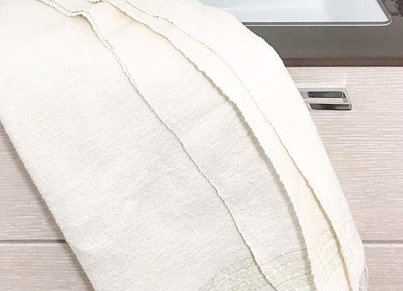 Drap de bain en coton d'Egypte, tissé artisanalement - Blanc Bohème