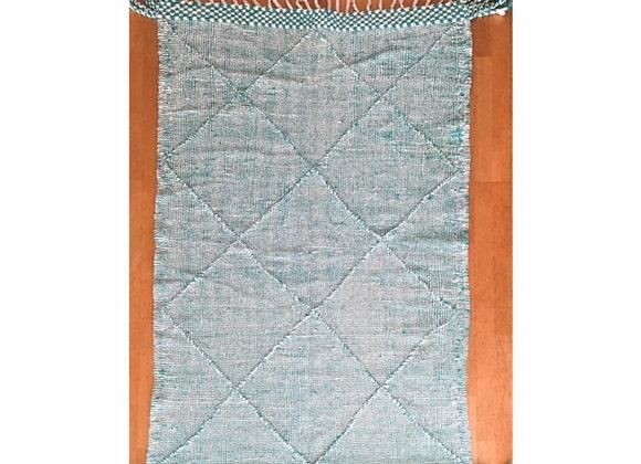 Tapis Kilim Zanafi en laine vert - Blanc Bohème