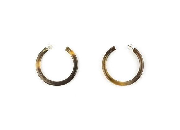Boucles d'oreilles grands anneaux Corne naturelle
