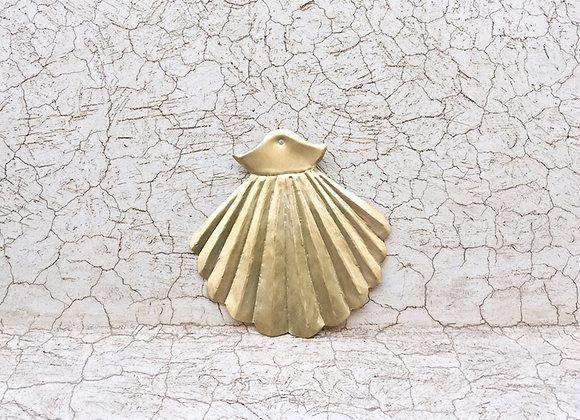 Coquillage, coquille Saint jacques en laiton- décoration murale en laiton