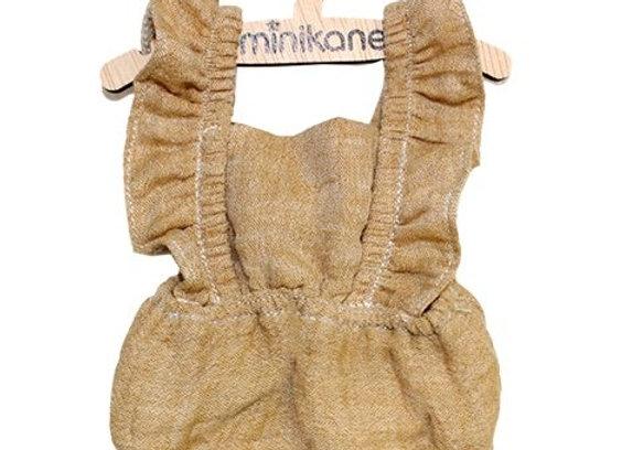 Vêtement: Barboteuse moutarde pour poupée Minikane