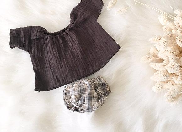 Ensemble top et culotte carreaux pour poupée Gordi Minikane