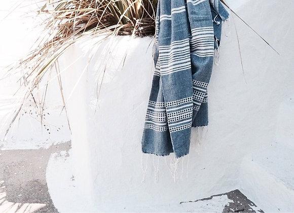 Foutah / serviette /drap de plage bleu, 100 % coton - Blanc Bohème