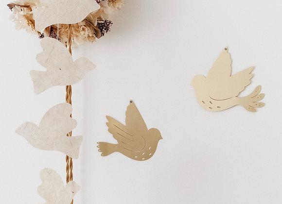 Colombe en laiton, décoration murale en laiton - Blanc Bohème