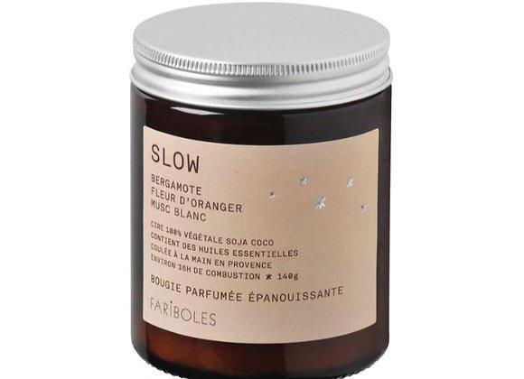 Bougie slow, cire naturelle de soja, Blanc Bohème