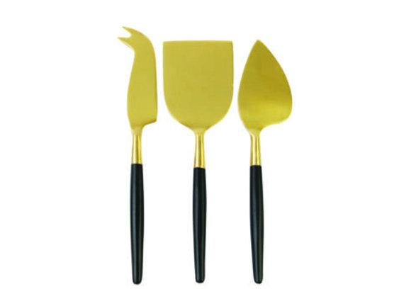 Service à fromage noir et or , 3 pieces