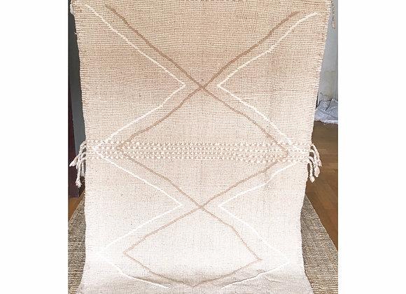 Tapis en laine tissé, kilim beige et blanc naturel