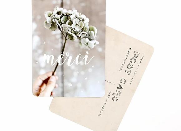 """Carte Postale poétique """" merci"""" hortensias de Cinq Mai"""