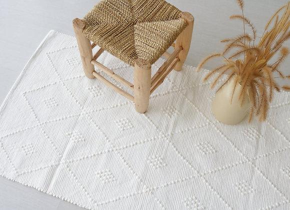 Tapis blanc en coton recyclé - Blanc Bohème