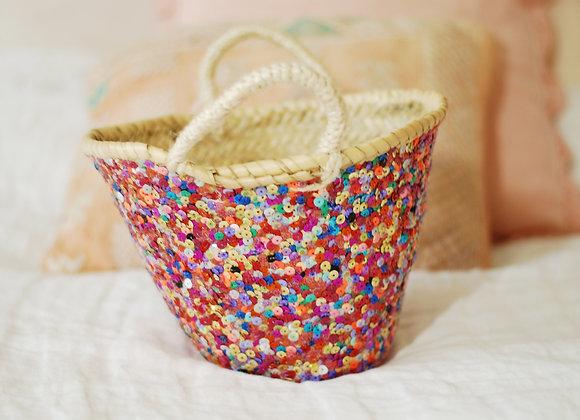 Panier Paillettes multicolores