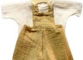 Salopette moutarde pour poupée Minikane