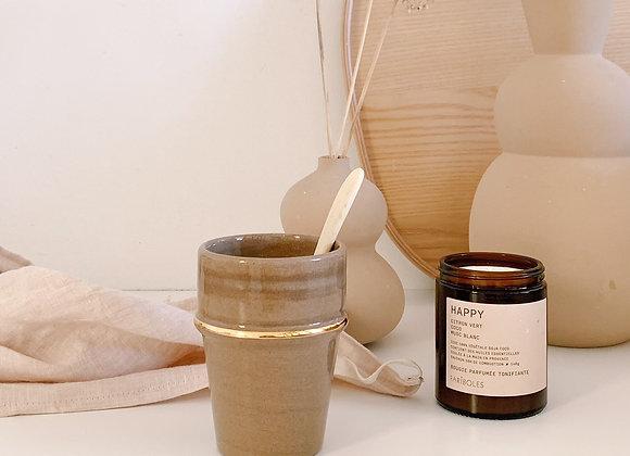 Tasse céramique marron et or - Fait main -Blanc Bohème