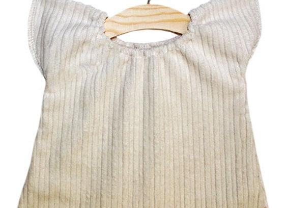 Robe en velours écru pour pour poupée Minikane