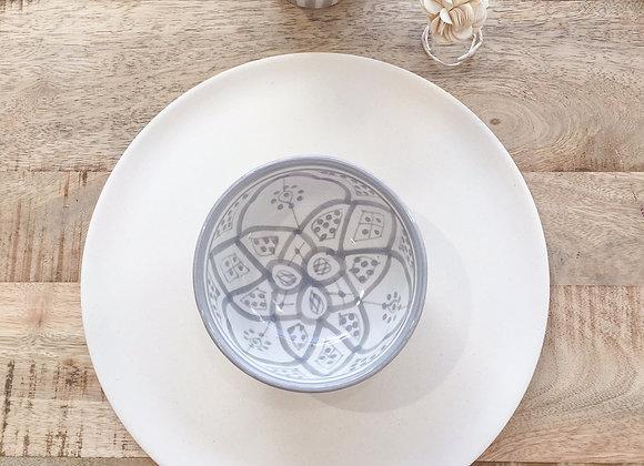 Bol en céramique, motifs berbères gris - Blanc Bohème