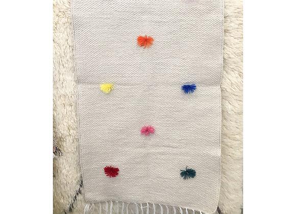 Tapis chambre d'enfant en coton et pompons - Blanc Bohème