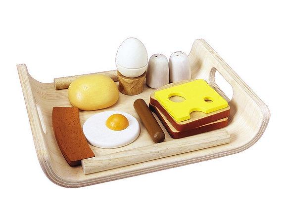 Plateau petit-déjeuner en bois - jouet , Blanc Bohème