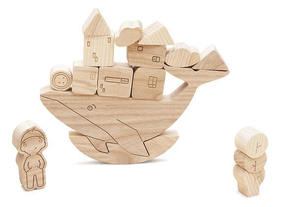 Jeu d'équilibre - baleine en bois