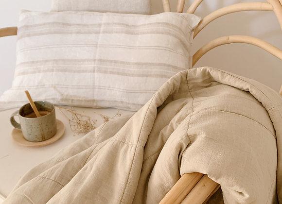 Plaid, couvre-lit coton beige
