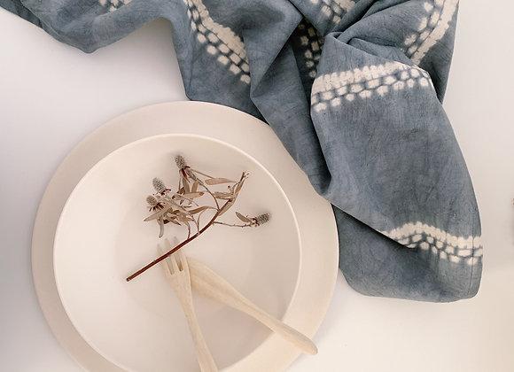 Torchon Tie & Dye bleu - Tensira Made In Africa - Blanc Bohème