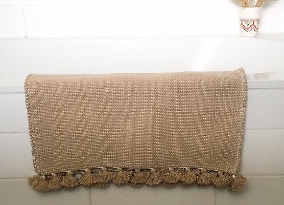 Tapis de bain coton beige - Blanc Bohème
