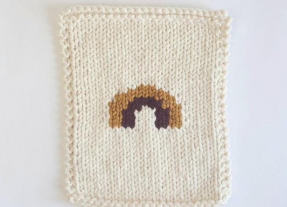 Couverture poupée en laine, arc-enciel brun
