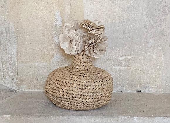 Mini vase en raphia artisanal - Blanc Bohème