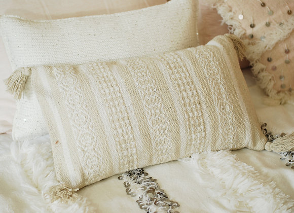 Coussin Blanc et Beige