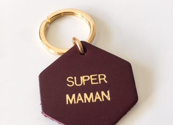 """Porte-clef en cuir gravé """"super maman"""""""