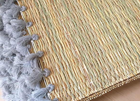 Set de table pompons - gris souris