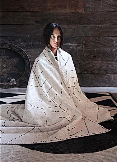 Plaids en laine, en lin, en coton - Blanc Bohème