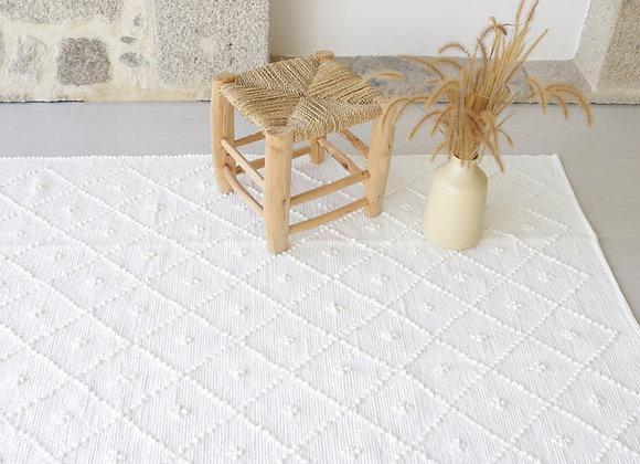Grand tapis blanc en coton recyclé - Blanc Bohème
