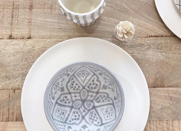 Bol en céramique Marocaine, motifs ethniques gris - Blanc Bohème