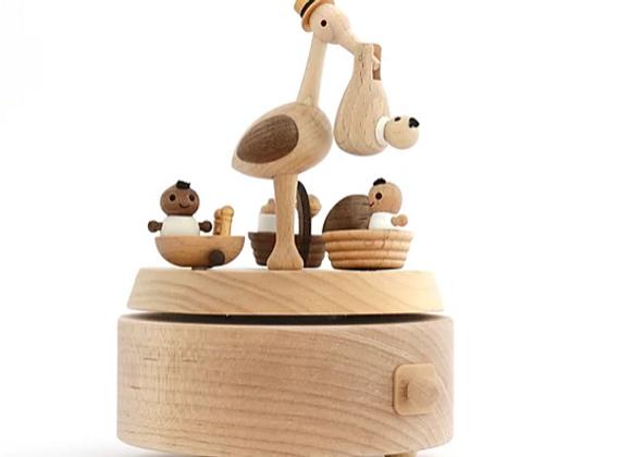 """Boîte à musique Cigogne et Bébé de """"Wooderful Life"""""""