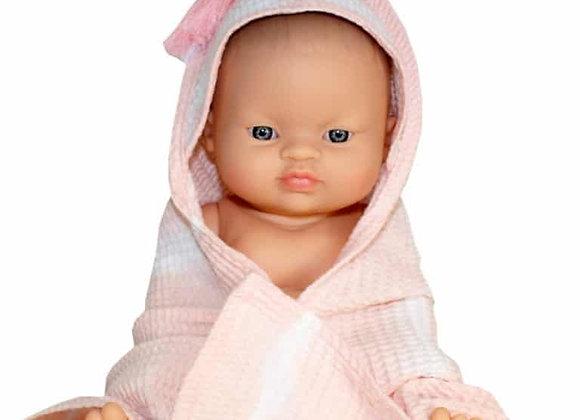 Sortie de bain en coton rose pour poupée Minikane