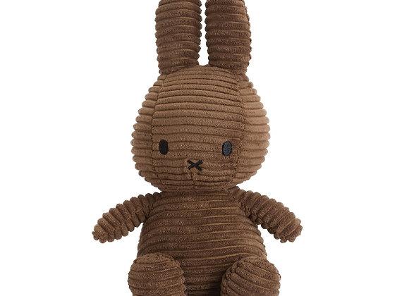 Doudou Miffy velours côtelé marron, 23 cm