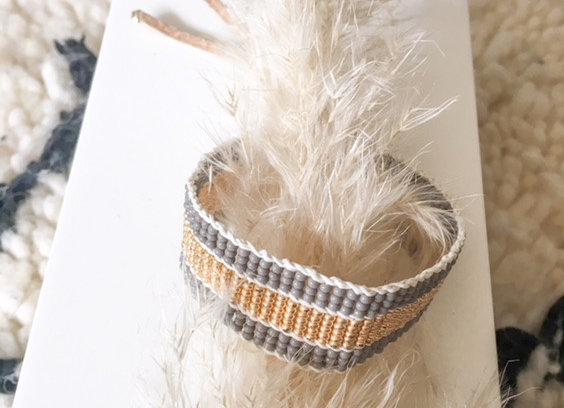 Bracelet ajustable en perles, gris et or - Blanc Bohème
