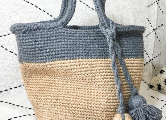 Panier cabas en laine crochetée, gris et naturel