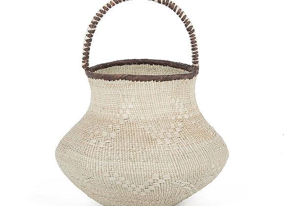 Pot artisanal/ vase en feuilles de palme - Artisanat d'Afrique