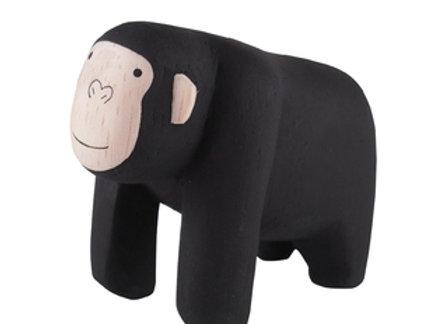 Gorille en bois sculpté- Pole Pole T-lab - Blanc Bohème