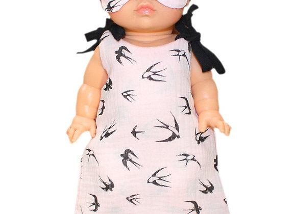 Turbulette rose hirondelles + masque pour poupée Minikane