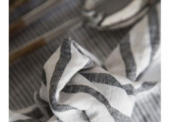 Serviette de table en lin rayures noires - Gabrielle Paris - blanc Bohème